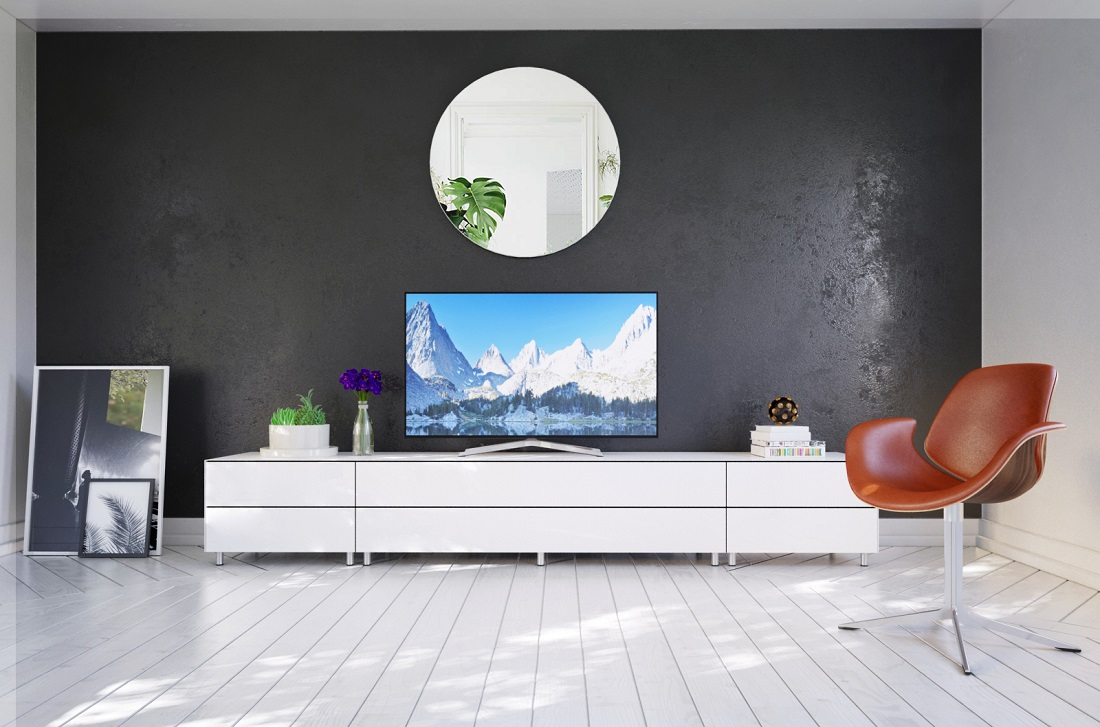 Meuble Tv Living Salon meuble tv design 290 cm epure salon k2 verre graphite scintillant