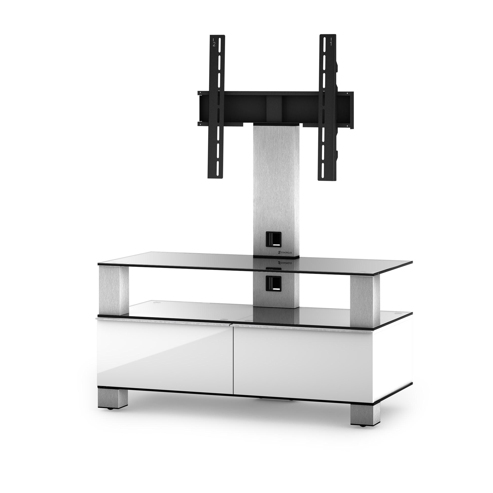 Meuble Tv Avec Barre De Son meuble tv sonorous md8953-c-inx-wht verre claire, blanc laqué avec support  tv